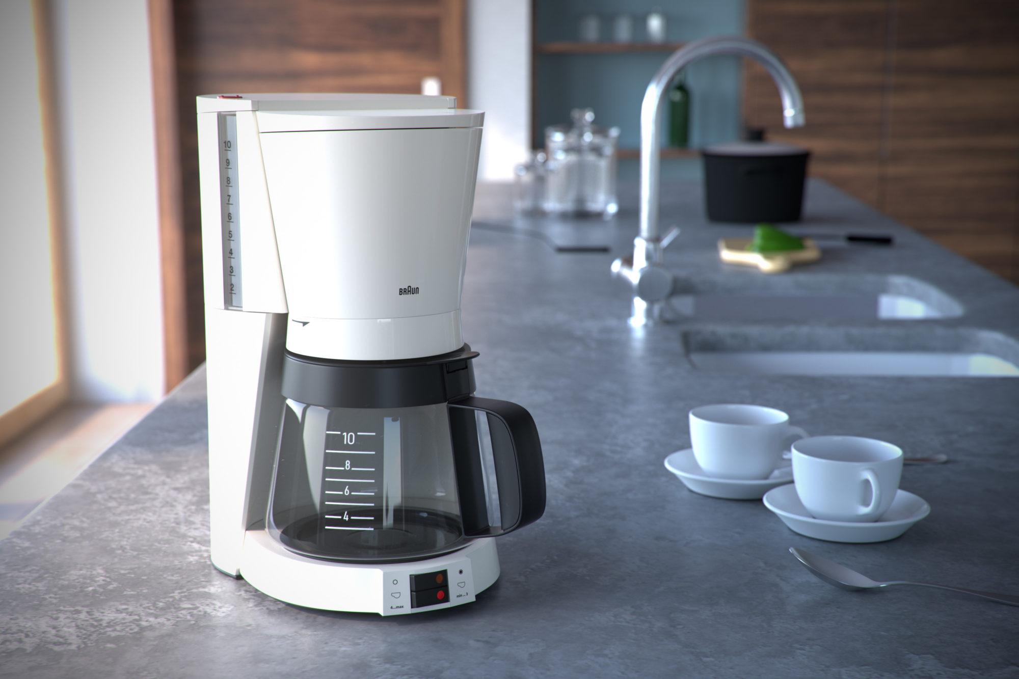 Stefan Eder 3D Produkt Rendering Kaffeemaschine Braun Küche