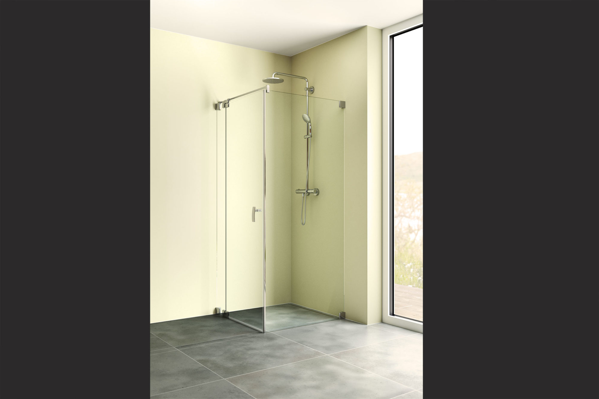 3D Rendering Dusche Wand grün Fenster Schlafen Eder Stefan