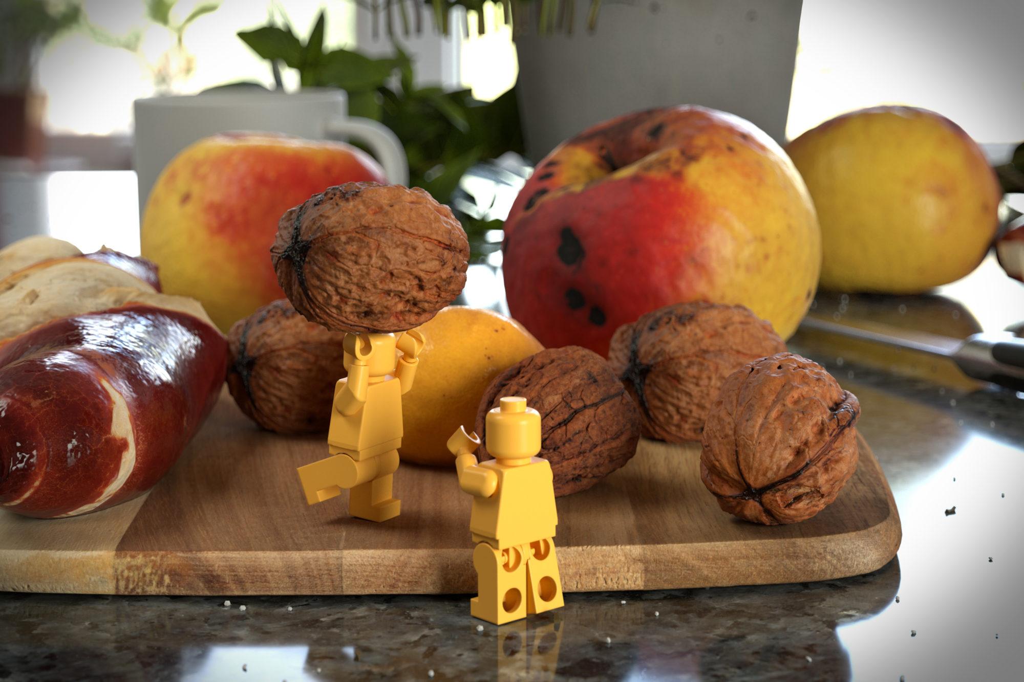 3D Render Stefan Eder photogrammtry Obst Nuss Lego Spiel